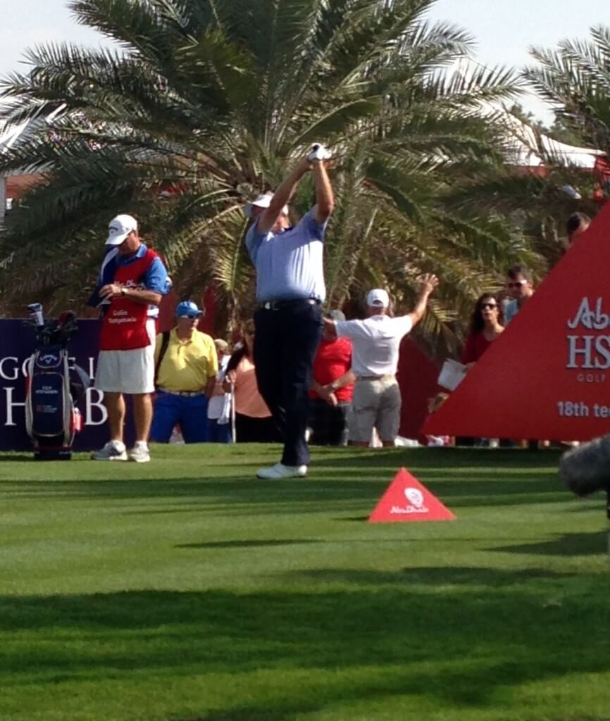 Colin Montgomerie limbers up